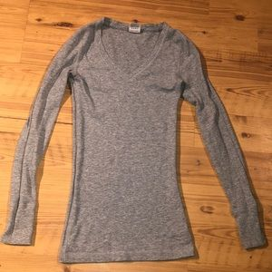 Light grey waffle knit Victoria's Secret PINK top